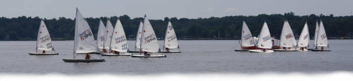 Neryc junior sailors racing on the Magothy River, Chesapeake bay