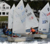 NERYC junior sailors racing Optimists